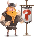 Big Male Viking Cartoon Vector Character AKA Torhild the Brave - Question mark