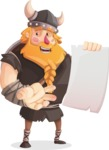 Big Male Viking Cartoon Vector Character AKA Torhild the Brave - Sign 2