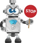 Vintage Robot Cartoon Vector Character AKA Bolty - Stop