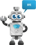 Vintage Robot Cartoon Vector Character AKA Bolty - Goodbye