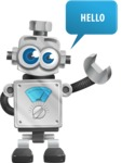 Vintage Robot Cartoon Vector Character AKA Bolty - Hello
