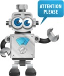 Vintage Robot Cartoon Vector Character AKA Bolty - Attention