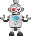 Vintage Robot Cartoon Vector Character AKA Bolty - In Love