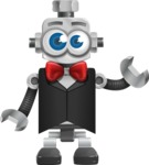 Vintage Robot Cartoon Vector Character AKA Bolty - Gentleman