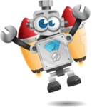 Vintage Robot Cartoon Vector Character AKA Bolty - Flying