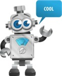 Vintage Robot Cartoon Vector Character AKA Bolty - Thumbs Up