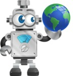 Vintage Robot Cartoon Vector Character AKA Bolty - Earth