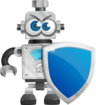 Vintage Robot Cartoon Vector Character AKA Bolty - Security 1