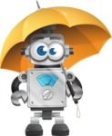 Vintage Robot Cartoon Vector Character AKA Bolty - Umbrella