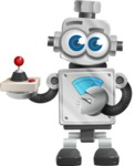 Vintage Robot Cartoon Vector Character AKA Bolty - Joystick