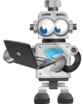 Vintage Robot Cartoon Vector Character AKA Bolty - Laptop 1