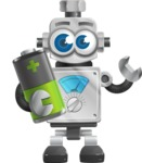 Vintage Robot Cartoon Vector Character AKA Bolty - Battery