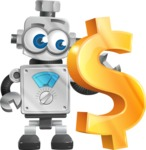 Vintage Robot Cartoon Vector Character AKA Bolty - Dollar
