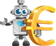 Vintage Robot Cartoon Vector Character AKA Bolty - Euro