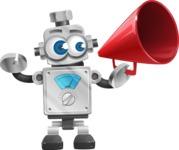 Vintage Robot Cartoon Vector Character AKA Bolty - Loudspeaker
