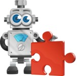 Vintage Robot Cartoon Vector Character AKA Bolty - Puzzle