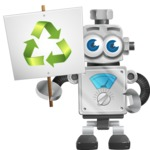 Vintage Robot Cartoon Vector Character AKA Bolty - Recycle