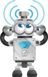 Vintage Robot Cartoon Vector Character AKA Bolty - Wi-Fi