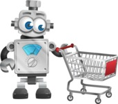 Vintage Robot Cartoon Vector Character AKA Bolty - Shopping Cart