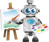 Vintage Robot Cartoon Vector Character AKA Bolty - Artist