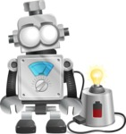 Vintage Robot Cartoon Vector Character AKA Bolty - Charging