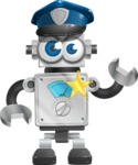 Vintage Robot Cartoon Vector Character AKA Bolty - Policeman