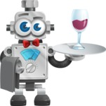 Vintage Robot Cartoon Vector Character AKA Bolty - Waiter