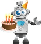 Vintage Robot Cartoon Vector Character AKA Bolty - Birthday