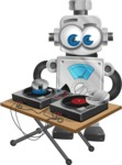 Vintage Robot Cartoon Vector Character AKA Bolty - DJ