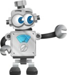 Vintage Robot Cartoon Vector Character AKA Bolty - Point
