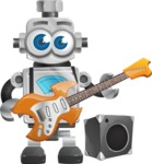 Vintage Robot Cartoon Vector Character AKA Bolty - Musician