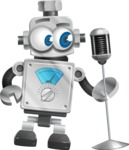 Vintage Robot Cartoon Vector Character AKA Bolty - Singer