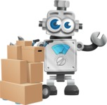 Vintage Robot Cartoon Vector Character AKA Bolty - Delivery 2