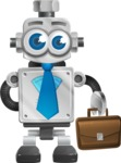 Vintage Robot Cartoon Vector Character AKA Bolty - Businessman