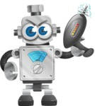 Vintage Robot Cartoon Vector Character AKA Bolty - Gun 1