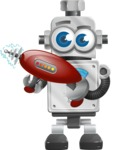 Vintage Robot Cartoon Vector Character AKA Bolty - Gun 2