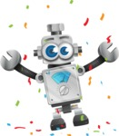 Vintage Robot Cartoon Vector Character AKA Bolty - Celebrate