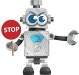 Vintage Robot Cartoon Vector Character AKA Bolty - Direct Attention