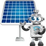 Vintage Robot Cartoon Vector Character AKA Bolty - Solar Panel