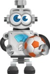 Vintage Robot Cartoon Vector Character AKA Bolty - Soccer