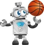 Vintage Robot Cartoon Vector Character AKA Bolty - Basketball