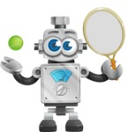 Vintage Robot Cartoon Vector Character AKA Bolty - Tennis 1