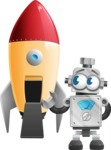 Vintage Robot Cartoon Vector Character AKA Bolty - Rocket