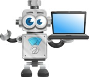 Vintage Robot Cartoon Vector Character AKA Bolty - Laptop 2