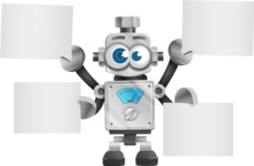 Vintage Robot Cartoon Vector Character AKA Bolty - Sign 8