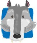 Watercolor Avatars Vector Mega Bundle - Wolf Watercolor Avatar