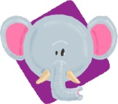 Watercolor Avatars Vector Mega Bundle - Elephant Watercolor Avatar