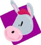 Watercolor Avatars Vector Mega Bundle - Donkey Watercolor Avatar