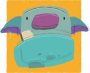 Watercolor Avatars Vector Mega Bundle - Monster Watercolor Avatar