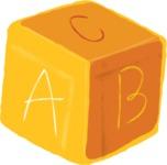 Watercolor Cartoon School Icons Bundle - Colorful Watercolor ABC Cube Illustration
